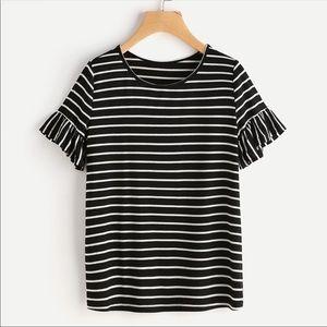 Tops - KELLI🖤 black white striped ruffle sleeve top